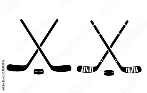 Fotografía  Hockey Stick Flat Icon On White Background