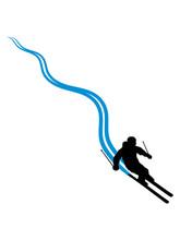 Linie Pfad Striche Spuren Ski Fahren Runter Berg Winter Sport Spaß Bergab Berge Urlaub Ferien Skiurlaub Clipart Silhouette Design Cool Kalt Langlauf Schnee Piste