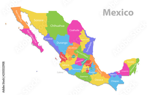 Mexico map, new political detailed map, separate individual states, with state n Fototapet