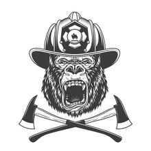Ferocious Gorilla Head In Fire...