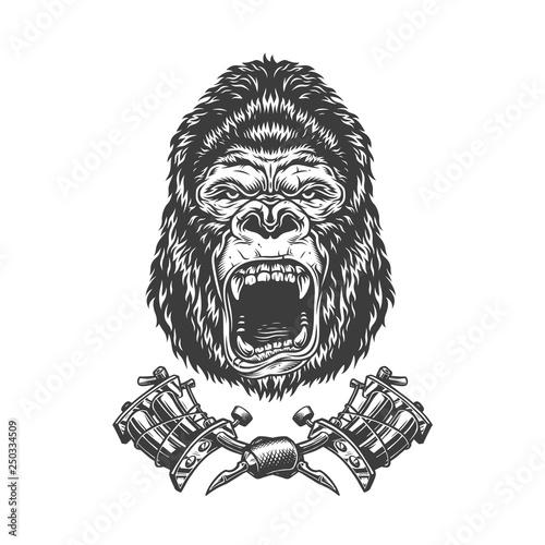 Vintage monochrome angry gorilla head Canvas Print