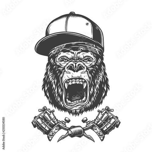 Photo  Vintage ferocious gorilla head