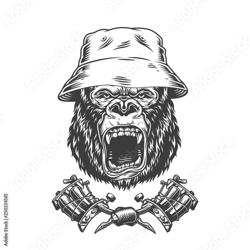 Photo  Ferocious gorilla head in panama hat