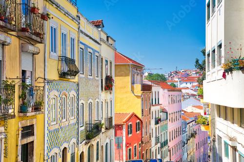 Colorful buildings of Lisbon historic center near landmark Rossio Square Canvas Print