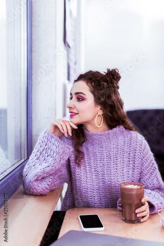Fotografie, Tablou  Dark-haired cute girl spending time in cozy cafe