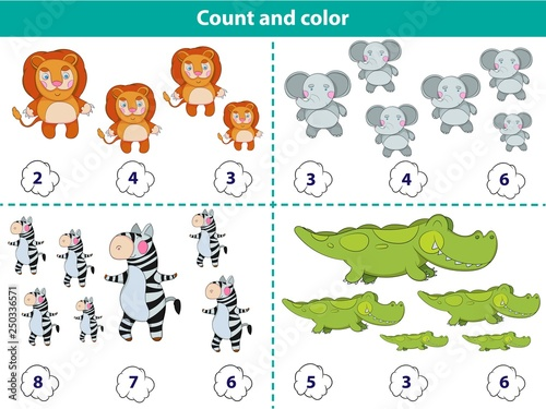 Educational game for preschool children. Count and color the circle with correct answer. Set of cartoon animal characters. Vector illustration
