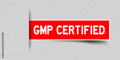 Label square red sticker in word GMP (Good manufacturing practice) certified tha Canvas Print