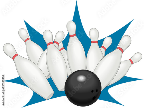 Canvas Prints Fairytale World Bowling Strike Vector Illustration