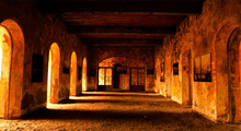 Exhibition Building On The Island Of Gorée, Senegal, Special Light And Pictures On The Walls