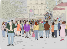 Hand Drawn Illustration. A Crowd Of People Walk On A Busy Day In Monastiraki Square In Athens, Greece.