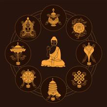 Ashtamangala. Eight Auspicious Symbols Of Buddhism, Golden On Brown