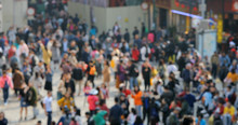Blur Of People Walk In The Street