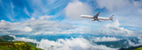 Panorama Photo An airplane flying in the blue sky. passenger plane flies highly over clouds of aerosphere.  airplane flying in a clear pale blue sky. An airplane taking off at airport.