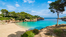 Cala Dor Bay At Cala D'Or City, Palma Mallorca Island, Spain