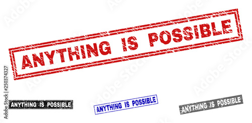 Fotografie, Obraz  Grunge ANYTHING IS POSSIBLE rectangle stamp seals isolated on a white background