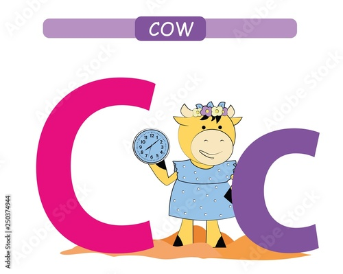 Letter C and funny cartoon cow. Animals alphabet a-z. Cute zoo ...