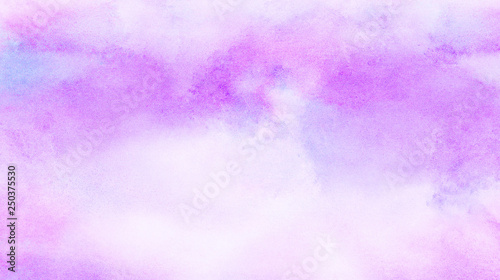 Abstract grunge violet gradient violet water color artistic brush paint splash background. Vintage light purple watercolor paint hand drawn illustration with paper grain texture for aquarelle design.