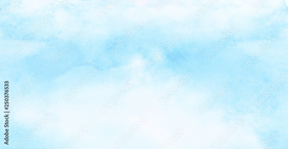 Fototapeta Abstract grunge tint light blue watercolor background. Aquarelle painted azure gradient color splashing on textured paper. Vintage water color splash template or canvas for design, retro card