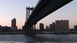 View of Manhattan Bridge and East River in New York United States