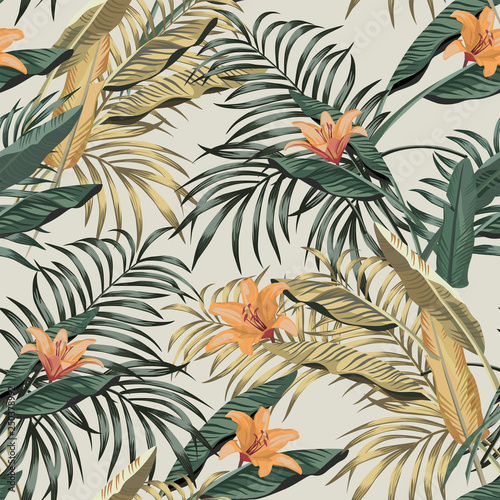 Tropical banana leaves flowers seamless