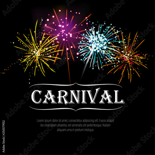 Carnival template with realistic yellow, blue, pink, orange