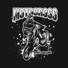 Motocross Sport Challenge Vector Illustration