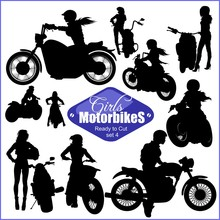Silhouettes - Womans And Motorbikes - Vector Set. Isolated On White.