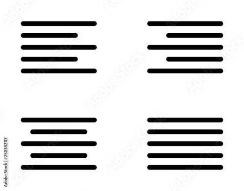 Text alignment or text align set with left, right, center and justify line art i Canvas Print