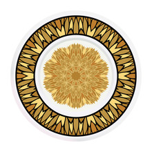 Decorative Plates For Interior Design. Tribal Ethnic Ornament With Mandala. Vector Illustration. White, Gold Color