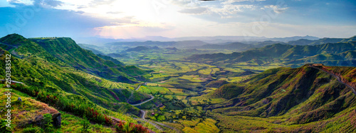 Recess Fitting Blue jeans Aerial Panorama of Semien mountains and valley around Lalibela, Ethiopia