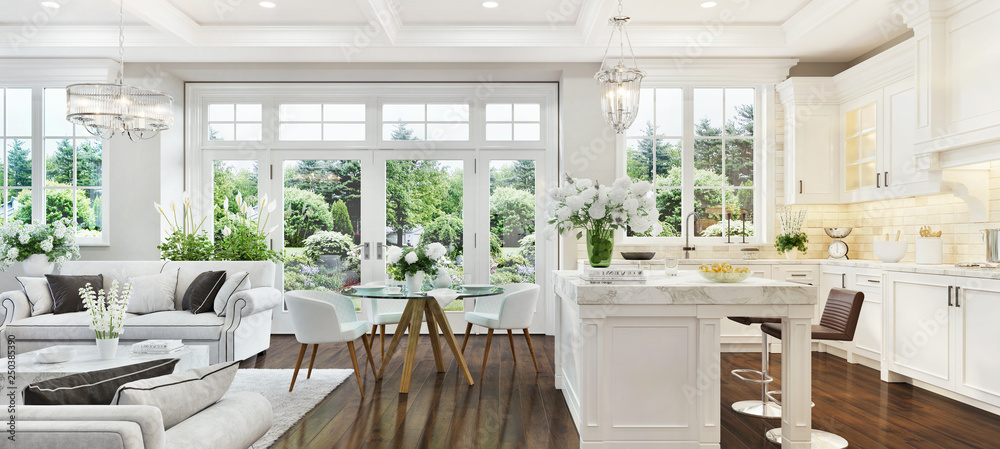 Fototapeta Luxury interior with white kitchen and living room