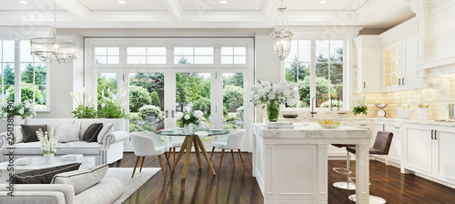 Fotografie, Obraz  Luxury interior with white kitchen and living room
