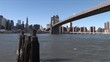View of Brooklyn Bridge and East River in New York United States