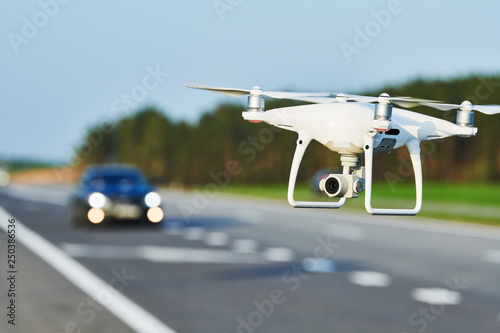 drone and transportation  drone with camera controls highway