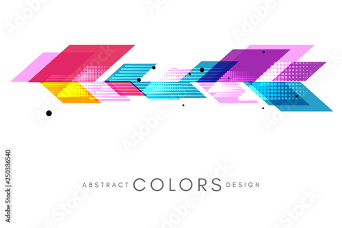 Acrylic Prints Abstract wave Colorful geometrical abstract background. Horizontal banner with decorative border element.