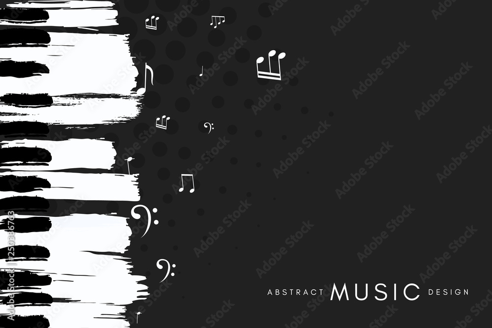 Fototapeta Piano concert poster. Music conceptual illustration. Abstract style black background with hand drawn piano keyboard and notes.