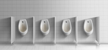 Mens Public Toilet Room Realistic Vector. Row Of Dirty, Rusty Ceramic Urinals With Metal Flushing Buttons On White Tiled Wall In Opened Cabins Illustration. Unsanitary, Anti-hygienic Condition Concept