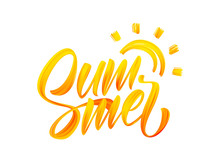 Vector Illustration: Handwritten Brush Stroke Yellow Acrylic Paint Lettering Composition Of Summer With Sun