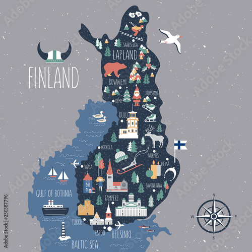 Canvas Print Finland travel cartoon vector map, Finnish landmarks, symbols, animals, flat bui