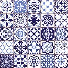 Portuguese Vector Azulejo Tile Seamless Pattern, Lisbon Retro Old Tiles Mosaic, Mediterranean Repetitive Navy Blue Textile Design