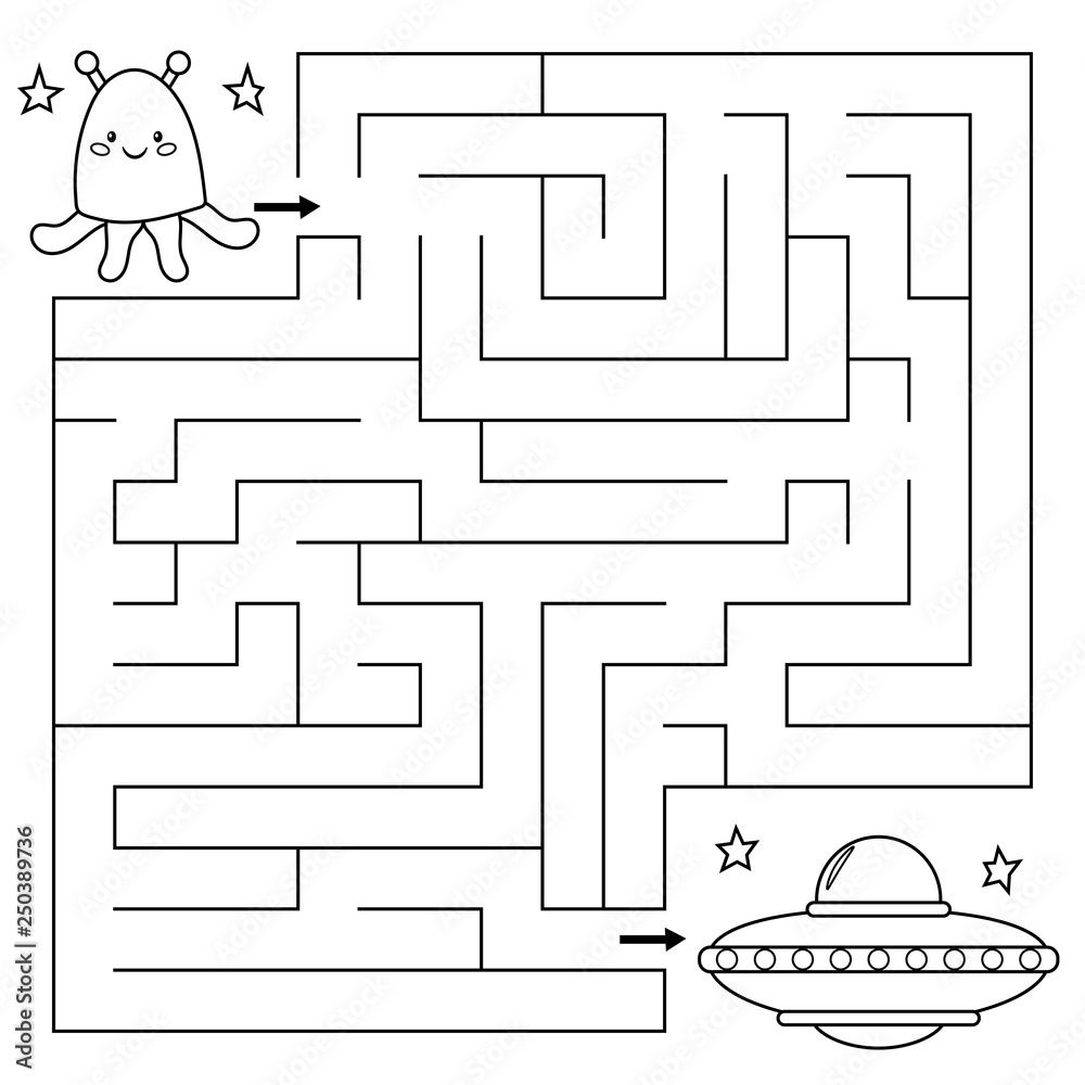 Fototapeta Maze game for children, help the alien find right path to the UFO. Coloring page. Vector illustration.