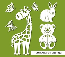 Silhouettes Of Giraffe, Teddy Bear, Rabbit And Butterflies. Decor For Children's Room. White Cartoon Characters On A Green Background. Template For Laser Cutting, Wood Carving Or Paper Cut. Vector.