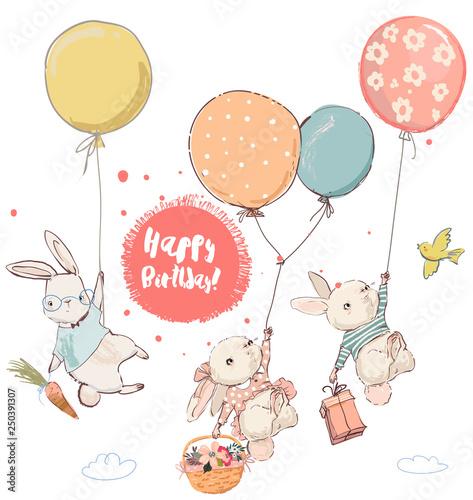 Obraz na płótnie cute hares in balloons