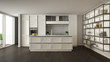 Classic white kitchen in modern open space with parquet floor and big panoramic window with balcony, island and accessories, minimalist contemporary interior design