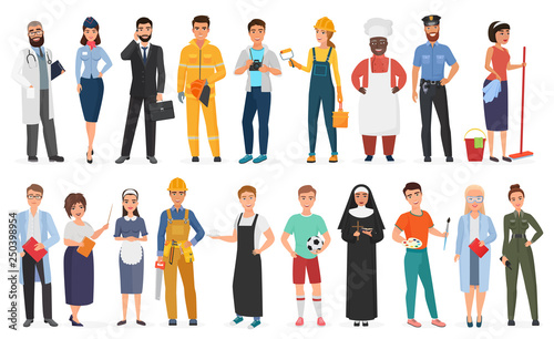 Fotografía  Collection of men and women people workers of various different occupations or profession wearing professional uniform set vector illustration