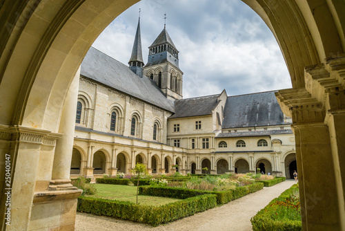 Photo Fontevraud abbey court and gardens in France