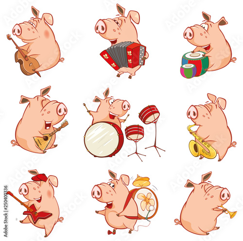 Foto op Aluminium Babykamer Vector Illustration of a Cute Pig Musician. Set Cartoon Character