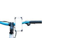 Smartphone Mount On Handlebar Of Mountain Bike Isolated On White Background.