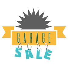 Garage Sale Sign Advertising Deals. Logotypes Template With Total Sale Vector Illustration. Special Offer And Sell-out Concept. Isolated On White