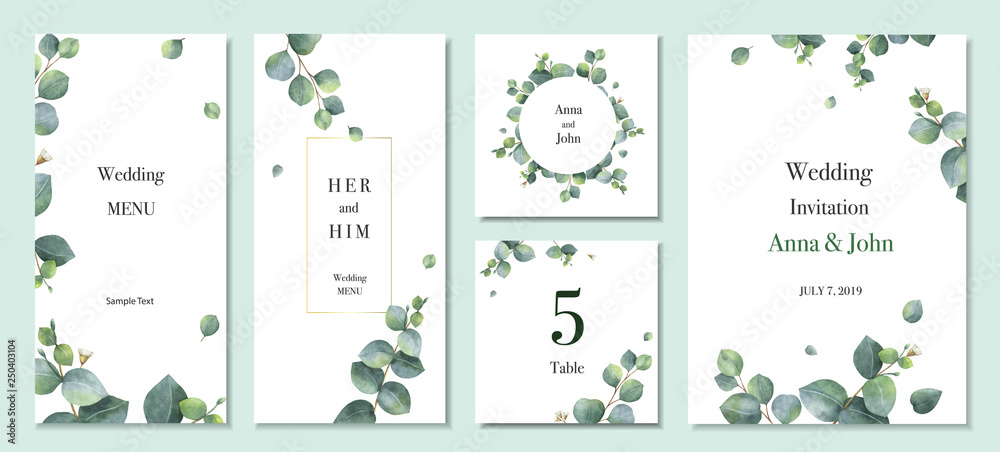 Fototapety, obrazy: Watercolor vector set wedding invitation card template design with green eucalyptus leaves.